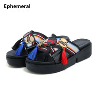 Feminine Cloth Slippers with Platform Fringe Plus size 44 43 34 Patchwork Slides Flats Summer Shoes Outdoor Footwear Black White