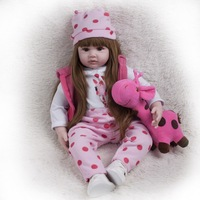 60cm Big Silicone Reborn Baby Doll Princess Girl Playmate Adorable alive dolls Soft Toy For Bebes Reborn dolls Birthday gift