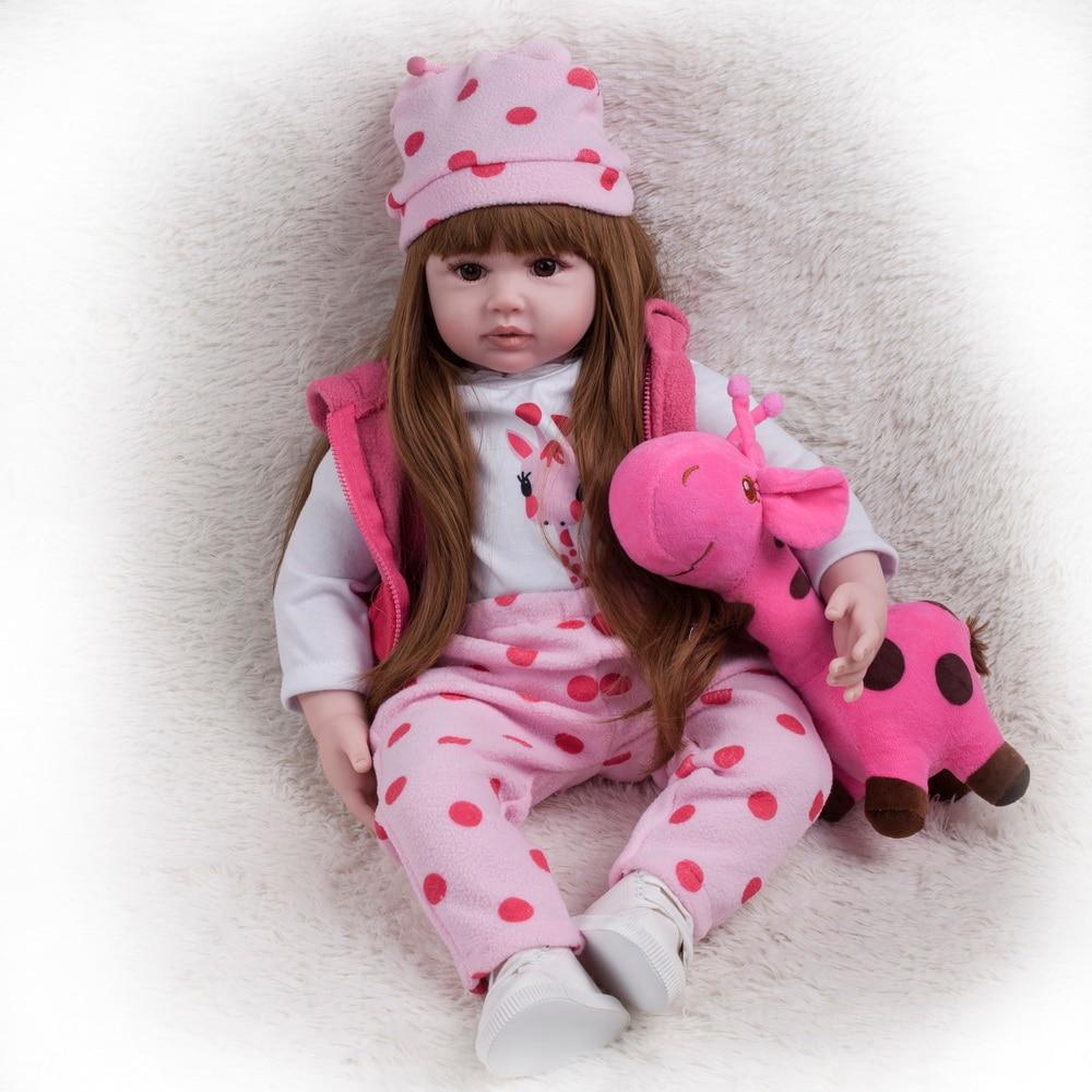 60cm gros Silicone Reborn bébé poupée princesse fille Playmate Adorable vivant poupées peluche pour Bebes Reborn poupées cadeau d'anniversaire