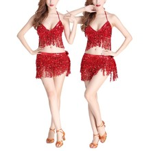 Professionel indisk danser Egypten Kostume kostume Belly Dance Costume 2stk Bra + Hip Scarf Sequined Performance Outfits Bollywood