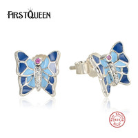 FirstQueen Pure 925 Sterling Silver Butterfly Stud Earrings Fine Jewelry DIY With Blue Enamel Fashion Earrings