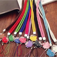 50Pcs Lanyards Phone Camera Hello Kitty 45CM Straps Rope For ID Badge MP3 MP4 Keychain U Disk Wallet Bag Decoration Woman Gift