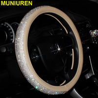 4 Color Luxury Crystal Car Steering Wheel Covers for Women Girls Leather Rhinestone Covered Steering Wheel Interior Accessories