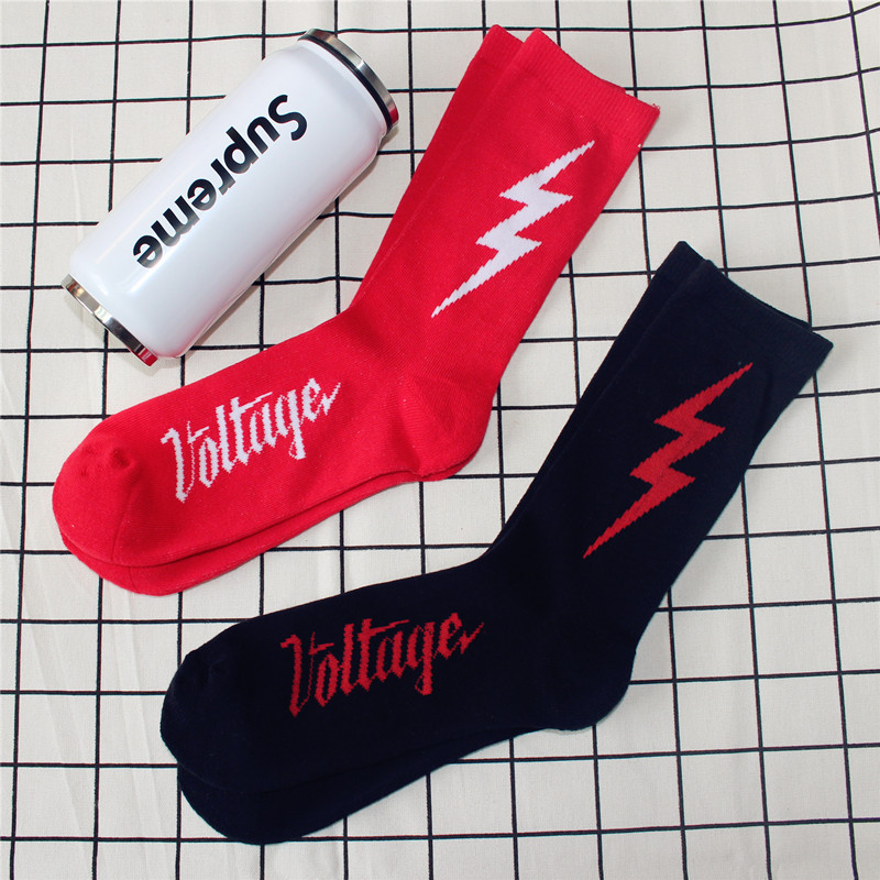 2017 autumn and winter new lightning icon men and women   socks   casual casual Towel bottom cotton hiphop   socks   Meias women unisex