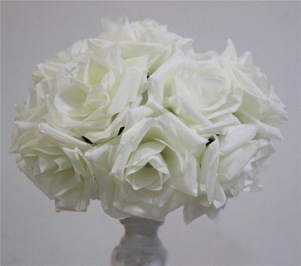 SPR 15 cm ivoor Elegante Kunstzijde Krimpen Rose Bloem Bal Opknoping - Feestversiering en feestartikelen