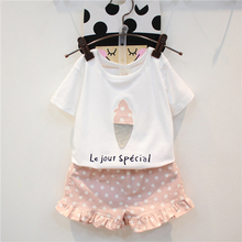 JENYA 2017 summer new girls clothing set white print letter short+pink ploka dot shorts fashion kids clothes