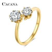 Anneaux en acier inoxydable CACANA pour femmes bague de mariage Double zircon cubique bijoux de mode en gros NO. R190 191