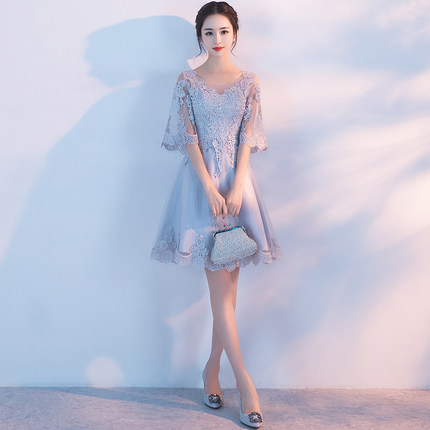 2019 New Mid-length Sleeve Lace High Waist Elegant Slim Banquet  A-line Floral  Evening Dress2019 New Mid-length Sleeve Lace High Waist Elegant Slim Banquet  A-line Floral  Evening Dress