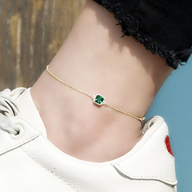 d809e9d9ece Red Trees Brand Summer Jewelry Fashion Ankle Bracelet With Green Gemstone  Real 925 Sterling Silver Anklets For Women Gift