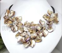 Hot Sale New Style Natural Pearl Crystal Brown MOP Shell Weave 5 Flowers Leather Bib