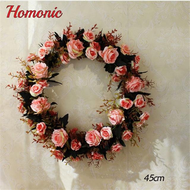 Aliexpress buy silk rose wreath artificial flowers wreaths silk rose wreath artificial flowers wreaths christmas wreath door perfect quality artificial garland for home wedding mightylinksfo