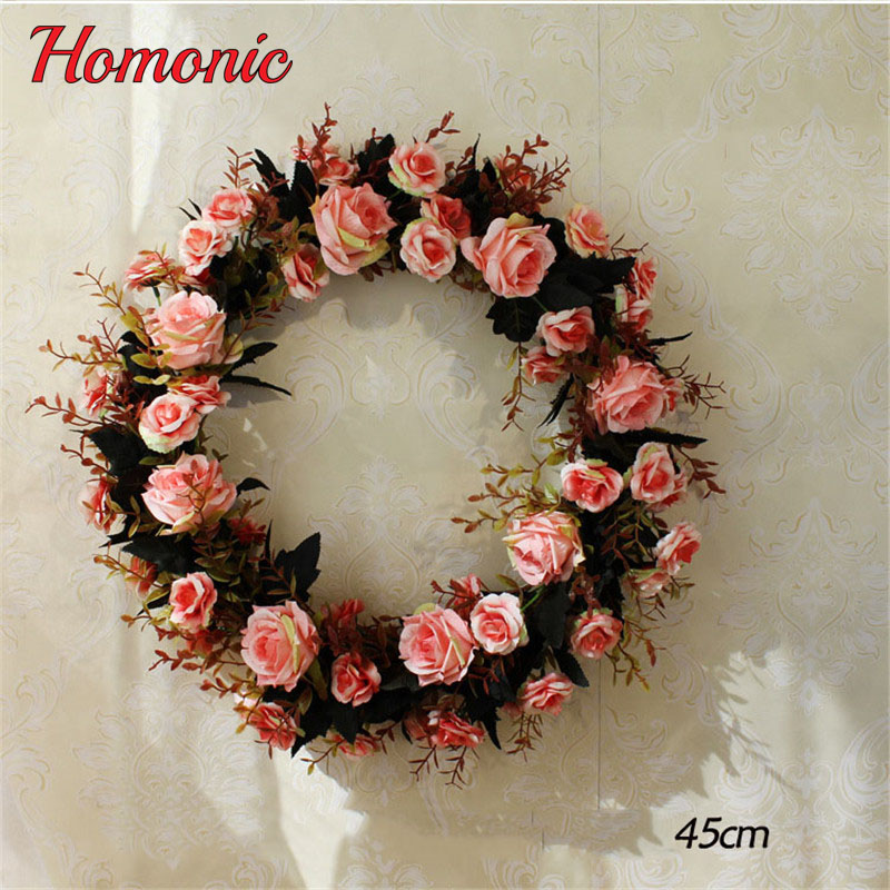 Silk Rose Wreath Artificial Flowers Wreaths Christmas Wreath Door Perfect Quality Artificial Garland For Home Wedding decoration