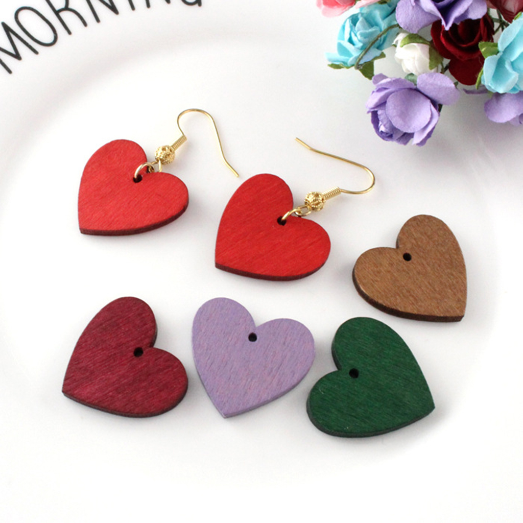 MagiDeal 50pcs Mini Love Heart Tags 3mm Holes Color Painted Wooden Heart Beads Findings Craft for Earring Jewelry