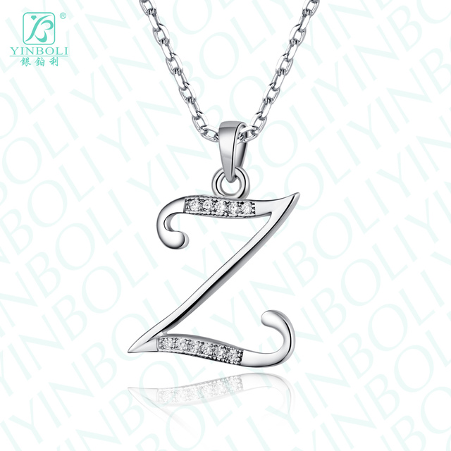 Letter Z Necklace ALP Lovers jewelry 925 pure silver letter z necklace short design chain female  pendant jewellers