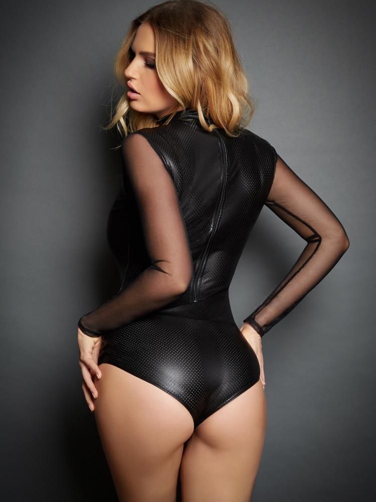 1f3b3d895f6e3 2019 Plus Size 2XL Women Sexy Lingerie Long Sleeve Transparent Latex ...