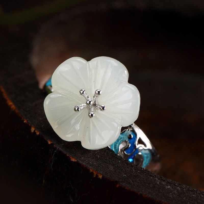 Eleganceใหม่ธรรมชาติGemst2018ดอกไม้หญิงแหวนสีขาวหยกโมเสคC Loisonneดอกพลัมเลดี้ระดับไฮเอนด์เปิดแหวนขายส่ง