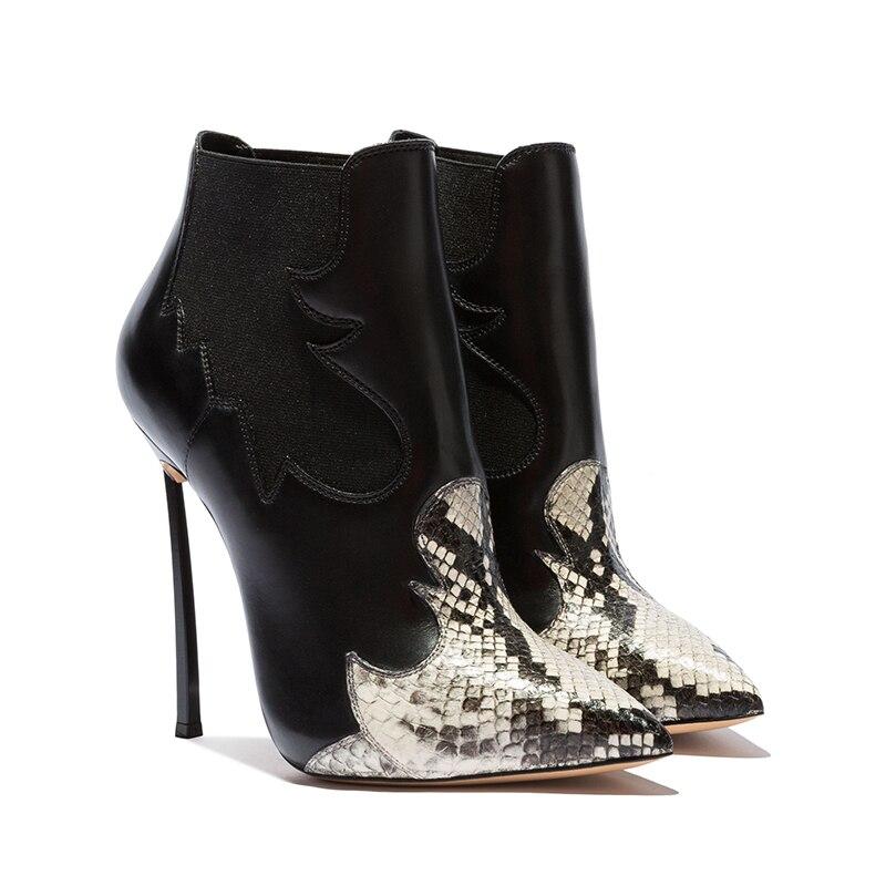 2019 nouveau cuir bottines femmes pour automne hiver mode bout pointu talon Zipper femme Chelsea bottes grande taille 35-43