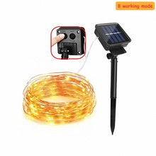 8 mode5M 50LEDs/ 10M 100LEDs/20M 200LEDs solar powered LED Copper Wire lighting Outdoor holiday Garden party Christmas decoratio