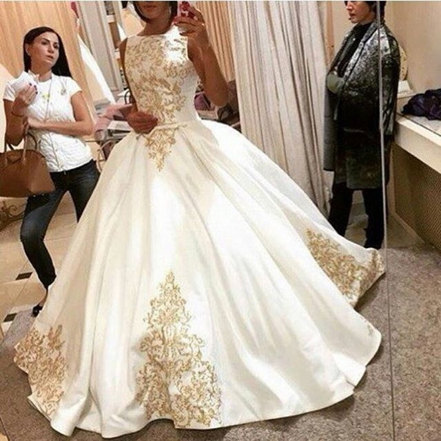 White wedding dress gold embroidery