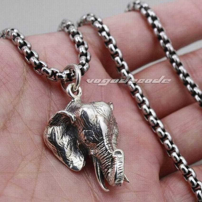 LINSION Großen Wilden Elefanten 925 Sterling Silber Herren Biker Punk Anhänger 8C025-in Anhänger aus Schmuck und Accessoires bei  Gruppe 1