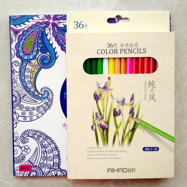CALIENTE! libros para colorear Mandala + 36 color lápiz Aliviar El ...