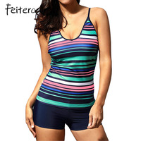 Feiterawn Women Two Piece Swimwear Bikinis 2017 SummerRainbow Stripes Swimdress Tankini And Shorts Swimsuit Beachwear DL410246