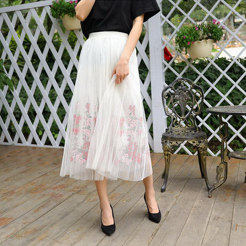 ddce4ca01d 2018 New Autumn Vintage Lady Tulle Skirt Summer Pleated Skirts High Waist  Floral Embroidery Mesh Tutu Skirt Women Midi Saia D294-in Skirts from  Women's ...