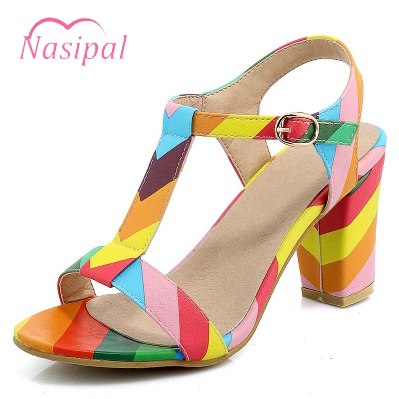 Nasipal 2018 Ankle Strap Heels Women Sandals Summer Shoes Women Open Toe Chunky High Heels Party Dress Sandals Big Size 44 C984 daidiesha 2018 ankle strap heels women sandals summer shoes women open toe chunky high heels party dress sandals big size 43