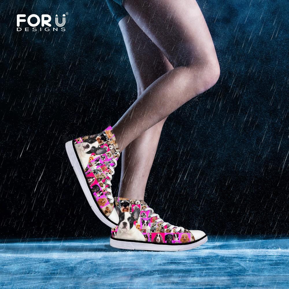 410cc6e68e0c0 Women High Top Canvas Shoes Animal Pug Dog Poodle Rottweiler Print Flat  Shoes Women Casual Shoes Female Sport Breathable Shoes-in Women's Vulcanize  ...