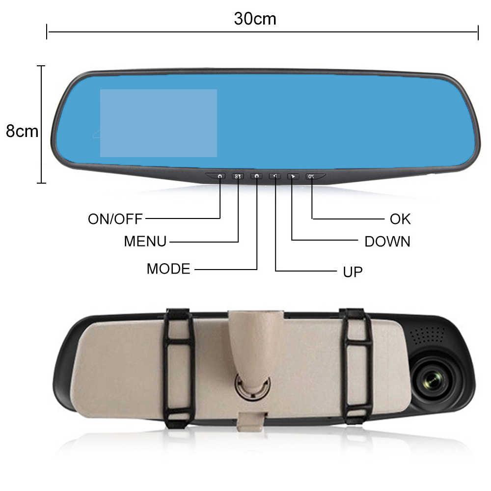 """جهاز تسجيل فيديو رقمي للسيارات 3.5 """"1080 P سيارة مرآة الرؤية الخلفية داش كام HD 1080p سيارة القيادة مسجل فيديو كاميرا سيارة شاشة زرقاء عدسة واحدة مسجل"""
