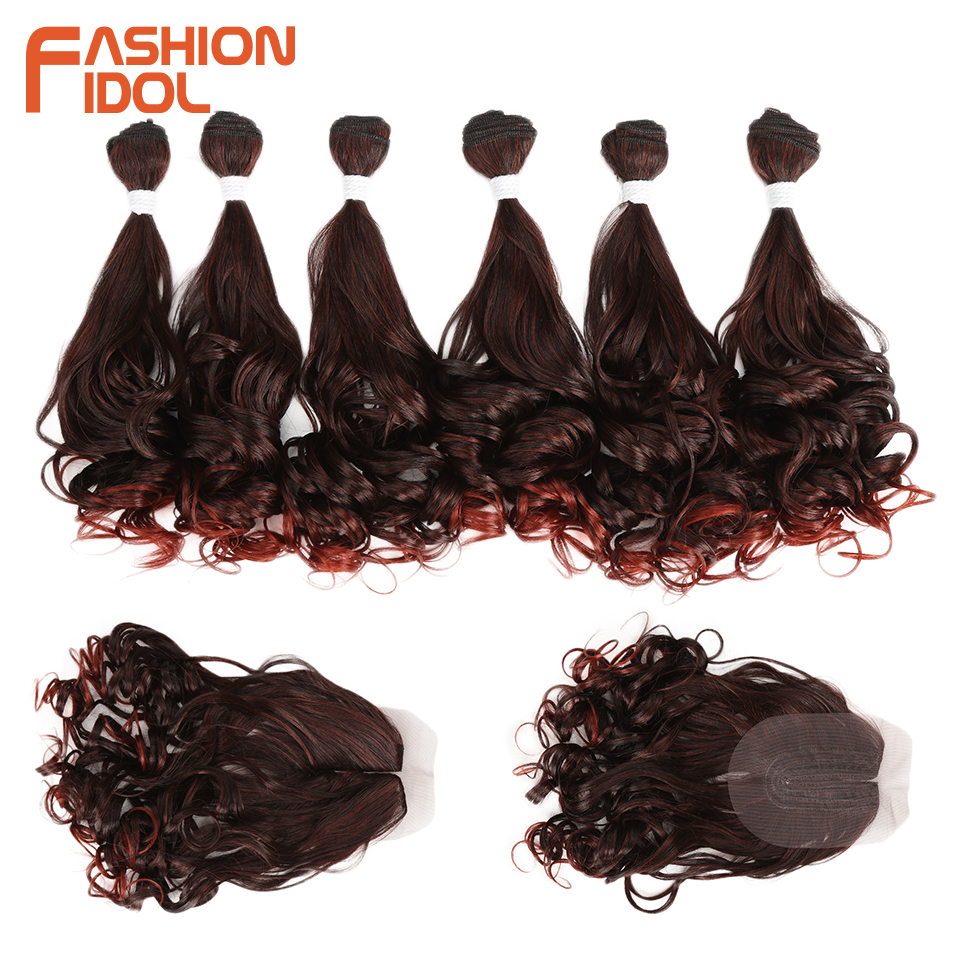 FASHION IDOL Deep Wave Hair Bundles 7Pcs/Pack 16-20inch Ombre Red Brown Synthetic Hair Bundles With Closure Weave Hair Extension