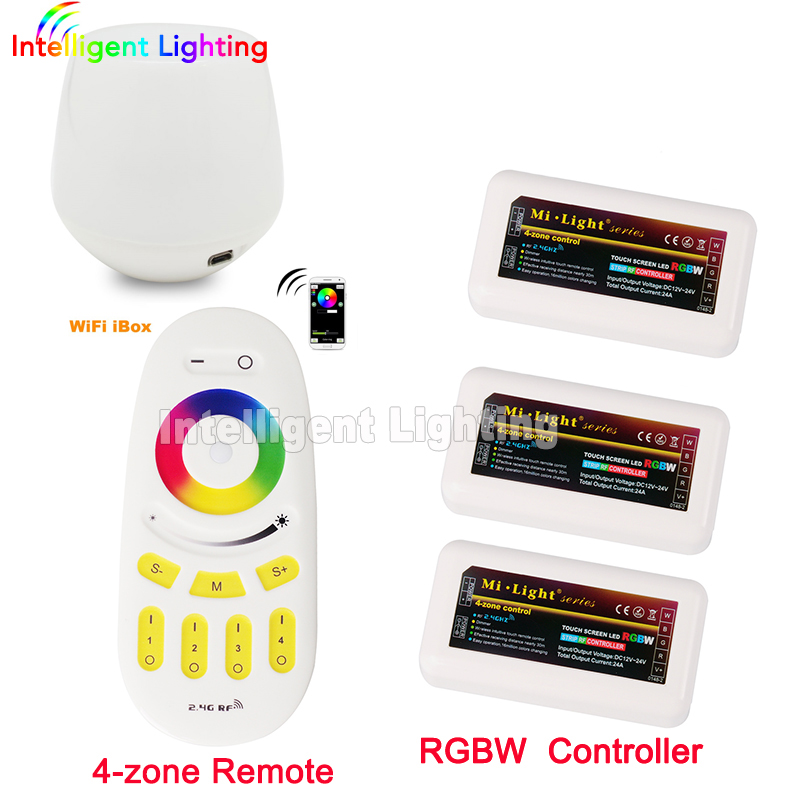 Mi light WiFi controller + 3x 2.4G led Controller RGBW + 4-Zone RF remote control for 5050 3528 Led Strip Light milight remote wifi 4x rgbw led controller group control 2 4g 4 zone wireless rf touch for 5050 3528 rgbw led strip light