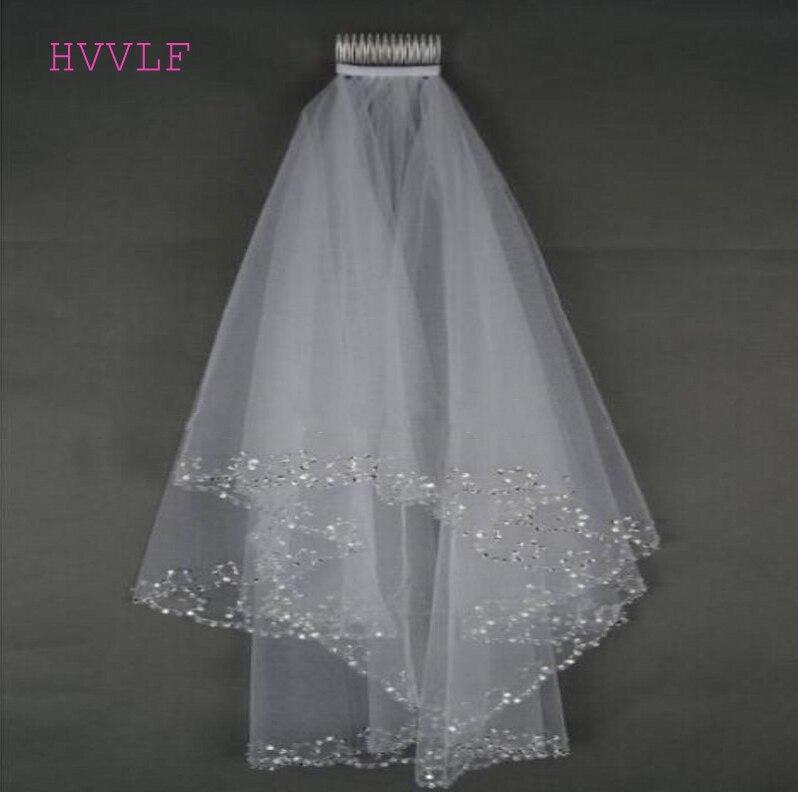 White Ivory Bridal Veils Wedding Veils Bridal Veil 2 Layer Handmade Beaded Crescent Edge Bridal Accessories Veil