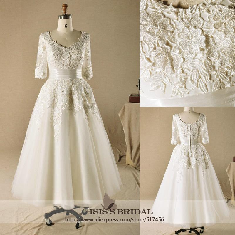 2014 new hot sale plus size tulle wedding dress tea length for Wedding dresses with sleeves for sale