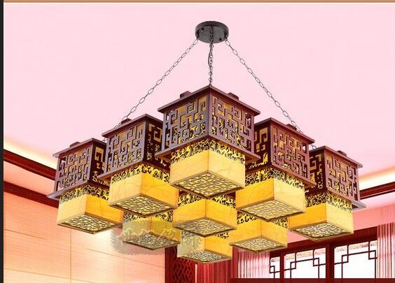 A1 Shipping the new modern Chinese style antique wood chandelier ceiling living room lamp rooms aisle