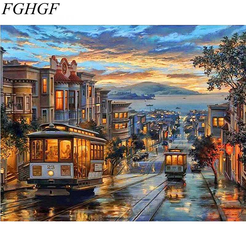FGHGF Frameless Europe Street Night Abstract Diy Painting By Numbers Handpainted Oil Painting Paint By Numbers For Living Room