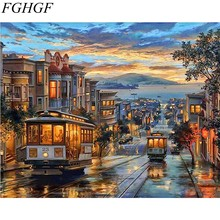 FGHGF Frameless Europe Street Night Abstract Diy Painting By Numbers Handpainted Oil Painting Paint By Numbers For Living Room(China)