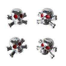 TOYL 4 шт. Универсальный Тележки Автомобиля Велосипед «Череп» Шин воздуха Стержня Клапана Caps Колесные Диски