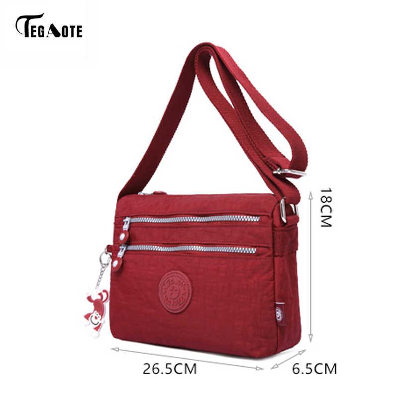 TEGAOTE حقيبة كتف نسائية موضة 2017 حقيبة جديدة غير رسمية من النايلون الكتف رسول متعدد الطبقات حقائب النساء حقيبة Bolsos كيس الرئيسي