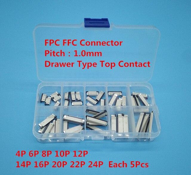 50 pcs FFC FPC connecteur 1.0mm 4/6/8/10/12/14/16/20/22/24 Broches Top Contacter Câble Plat Connecteur Socket Ensembles