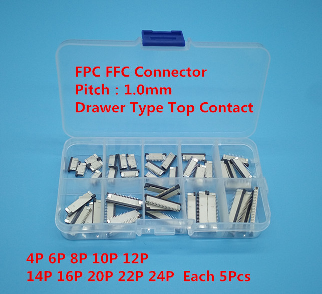 50pcs FFC FPC connector 1.0mm 4/6/8/10/12/14/16/20/22/24 Pin Top Contact Flat Cable Connector Socket Sets 10 pcs fpc ffc 1mm pitch 22 pin drawer type ribbon flat connector bottom contact