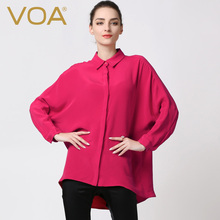 VOA European Plus Size Silk Women Shirt novelty Red Color Turn-down Collar  Tops  B5299