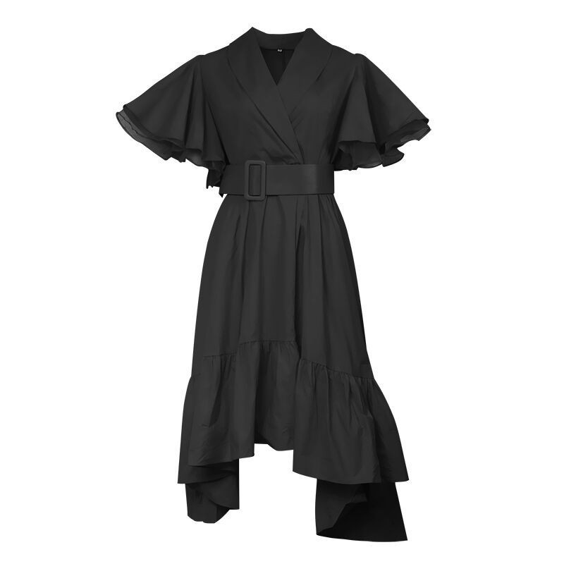 TWOTWINSTYLE Party Dresses Female V Neck Cloak Sleeve High Waist With Sashes Asymmetrical Long Dress For Women 19 Spring 10