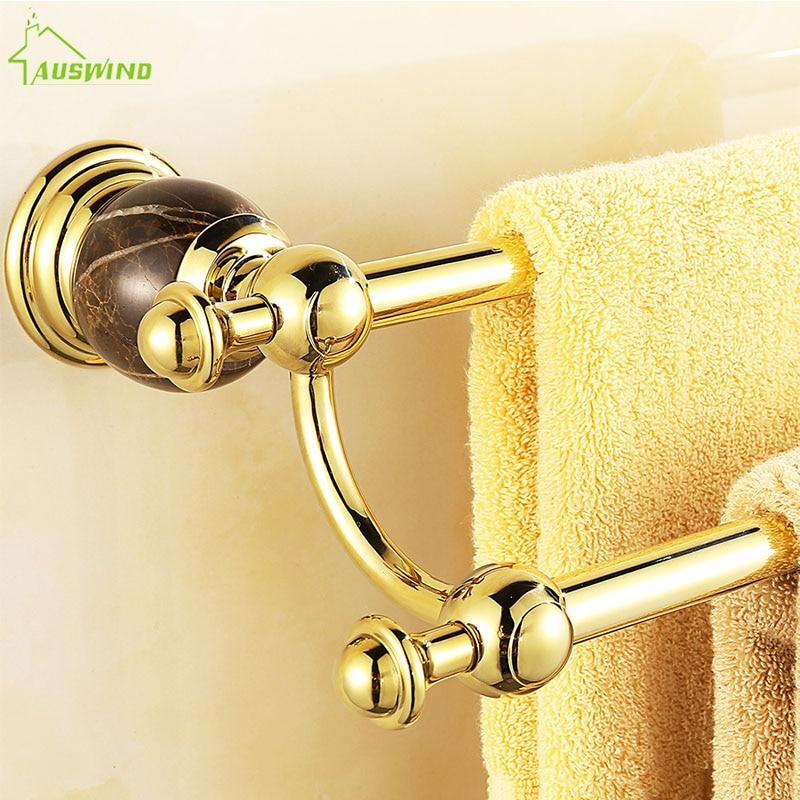 European Gold Brass Bath Towel Rack Polished Towel Holder Wall Mount Bathroom Accessories Lp6