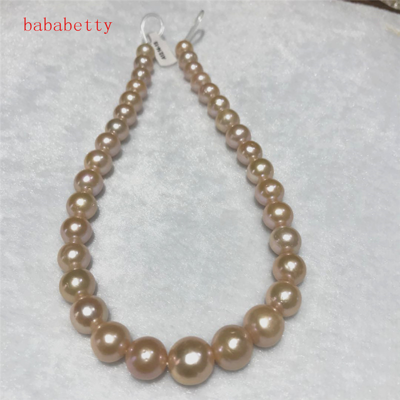 NEW Natural 11 13mm white pink Baroque Edison Freshwater Cultured Pearl 16 Loose beads
