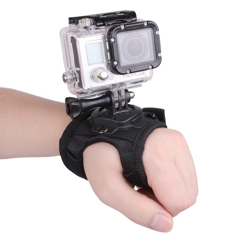 34.59cm Glove Wrist Band 360 Degree Swivel Rotation Hand Strap Belt Tripod Mount for GoPro Hero 4/3+/3 SJ4000 SJ5000 SJ6000 L3FE miniisw m ac universal curved surface mount kit for gopro hero 4 3 3 hero2 hero sj4000 black
