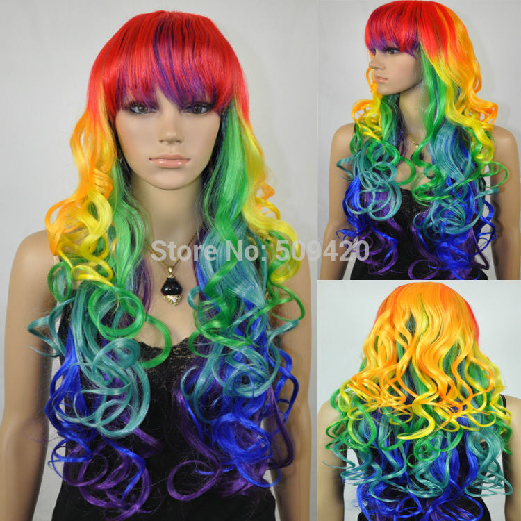 nice59876q long ondul boucls multi couleur color arc en plein cheveux perruque - Perruque Colore