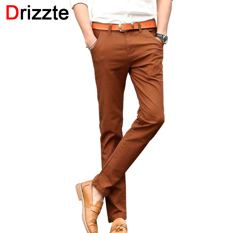 ФОТО Drizzte Mens 4 Color Slim Chino Soft Denim Stretch Jeans Pants Dress Trouser brown black coffee orange Size 32 33 34 36 38