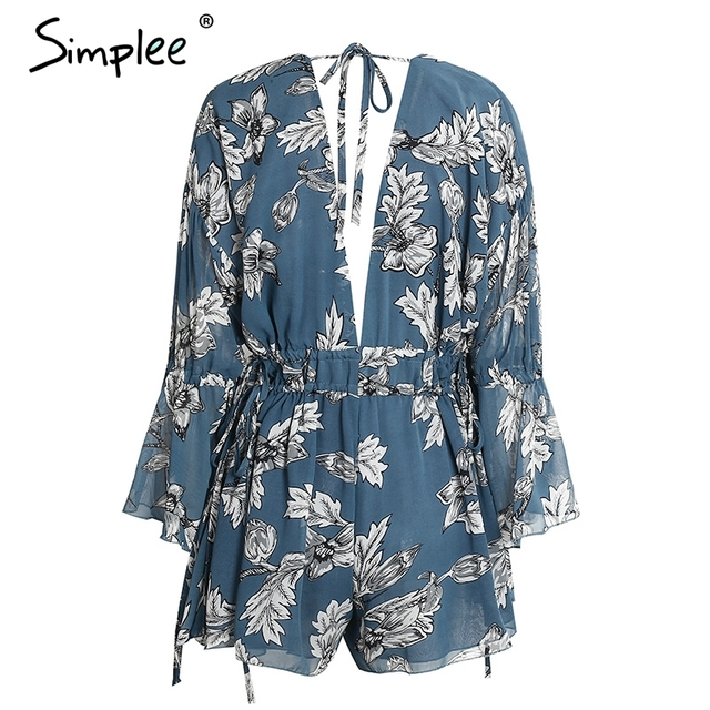 Simplee Sexy chiffon print backless jumpsuit romper Women flower deep v neck flare sleeve playsuit Summer beach loose overalls