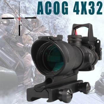 T-eagle Hunting ACOG 4X32 Real Fiber Optics Chevron BDC Reticle Red Green Illuminated Riflescope for Rifle .223 .308 Caliber